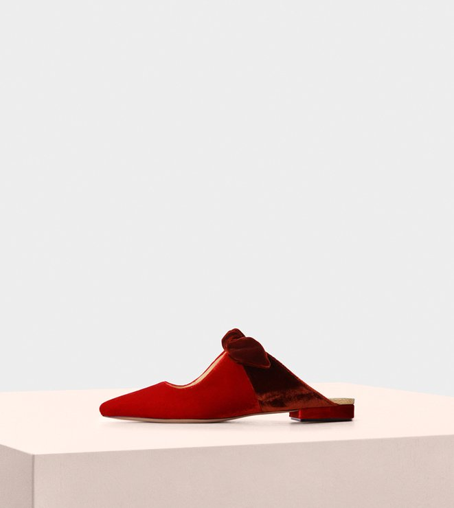 Mule Evelyn Flat Velluto Flame